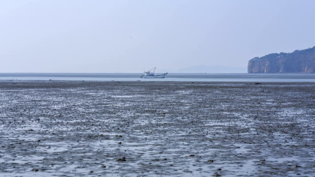 Landscape of Mud Flat in The Western Sea at Low tide