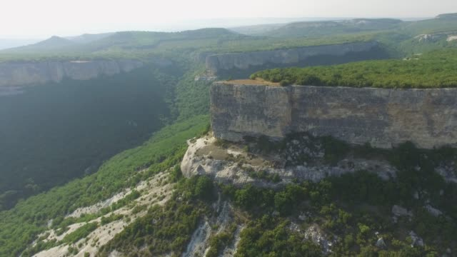 aerial: landscape of plateau in rugged mountains - multicopter stock videos & royalty-free footage