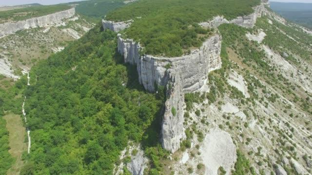 航空写真: 険しい山の高原の風景 - クワッドコプター点の映像素材/bロール