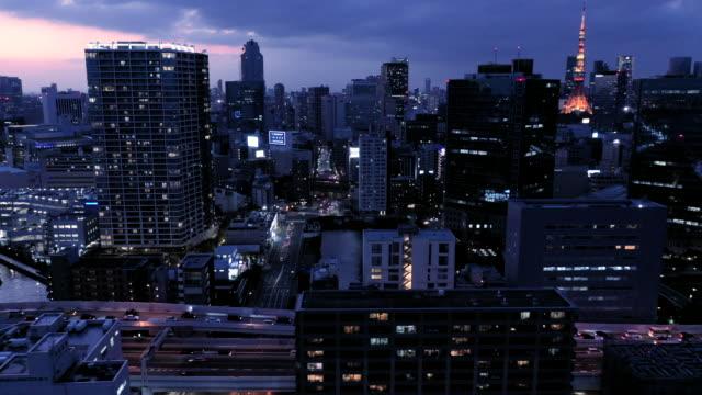stockvideo's en b-roll-footage met landschap van de belangrijkste stad van japan's nachts - tokyo japan