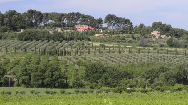 landscape of provence with country house - luberon stock videos & royalty-free footage
