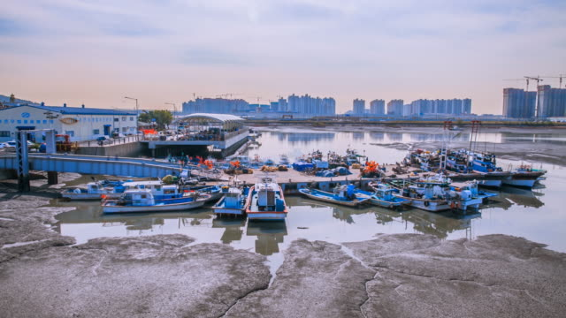 vídeos y material grabado en eventos de stock de landscape of siheung walgot harbor and fishing boats in gyeonggi-do, south korea - anclado