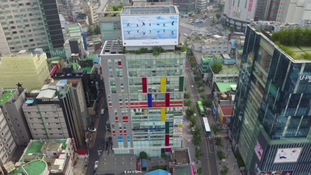 landscape of sinchon culture street (famous tourist spot) in seoul, south korea - 広告点の映像素材/bロール