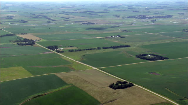 landscape of small farms  - aerial view - south dakota, hamlin county, united states - south dakota stock videos and b-roll footage