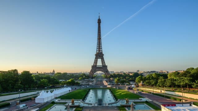 landscape of the eiffel tower in paris, france - eiffel tower paris stock videos & royalty-free footage
