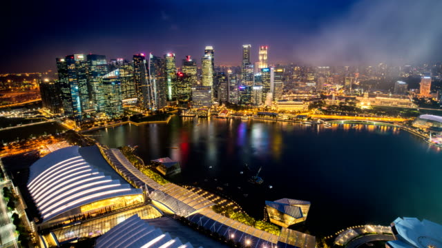 TL D2N LD, Landscape of the Singapore financial district and business building in evening lights from sands SkyPark observation deck