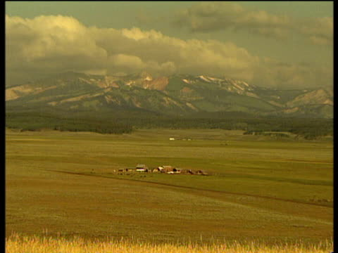 landscape of vast fields with small ranch in middle and forest leading out to snow capped mountain range in background zoom in to ranch. wyoming usa - wyoming ranch stock videos & royalty-free footage