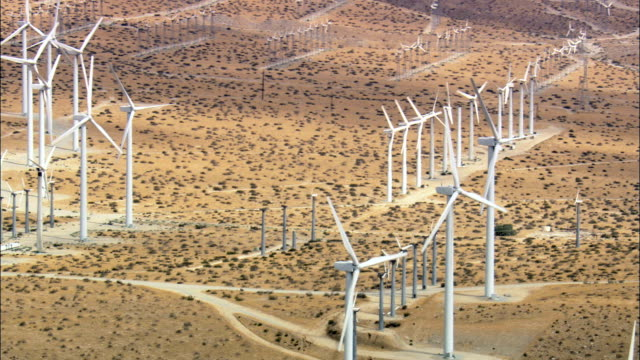 landscape of windfarms  - aerial view - california, riverside county, united states - riverside california stock videos and b-roll footage