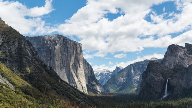 landscape of yosemite national park with el capitan, half dome and bridalveil fall - yosemite national park stock videos & royalty-free footage