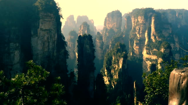 landscape of zhangjiajie wulingyuan - dreamlike stock videos & royalty-free footage
