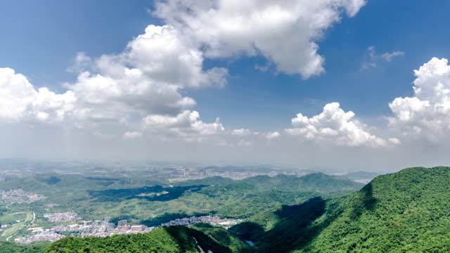 t/l ws pan landscape / shenzhen,china - hügelkette stock-videos und b-roll-filmmaterial