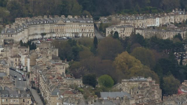 landscape shot of bath view from beechen cliff historic city of bath experiences spring weather on april 24 2013 in bath england - somerset england stock videos & royalty-free footage