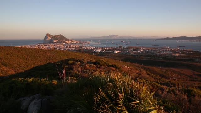 landscape shot the rock of gibraltar at dusk on august 7 2013 in san roque spain david cameron has spoken with his spanish counterpart mariano rajoy... - cádiz stock videos and b-roll footage