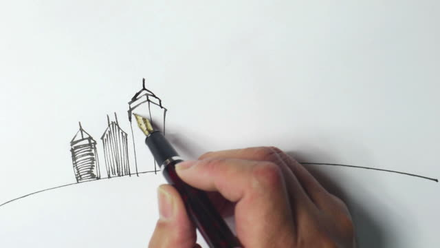 landscape sketches,hand-painted - fountain pen stock videos & royalty-free footage