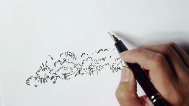 vidéos et rushes de croquis de paysage, peint à la main - plume