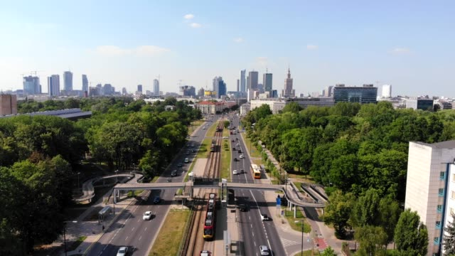 landscape video of warsaw by drone camera from pole mokotowskie park, poland. - warsaw stock videos & royalty-free footage