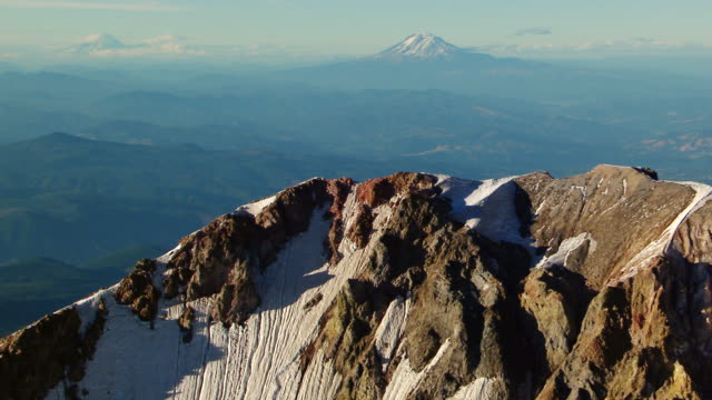 MS AERIAL Landscape view from near peak of Mt Hood / Oregon, United States