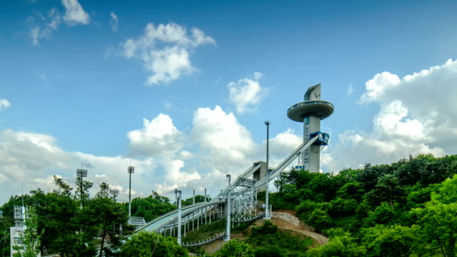 landscape view of alpensia ski jumping stadium in pyeongchang (2018 winter olympics) - pyeongchang stock videos and b-roll footage