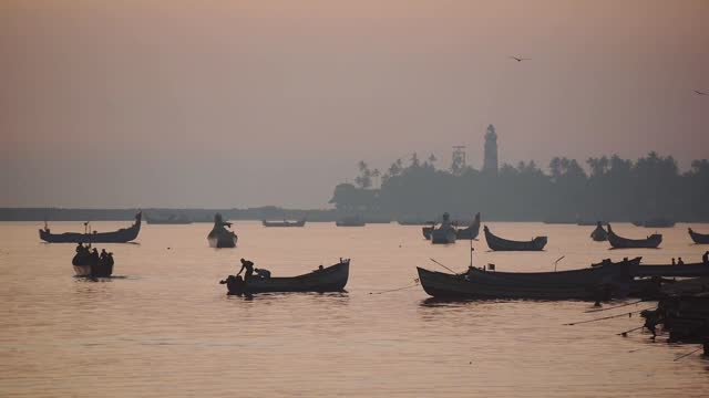 landscape view of silhouettes of fishermen going fishing on their traditional boats, kappil beach, varkala, india - fisher role stock videos & royalty-free footage