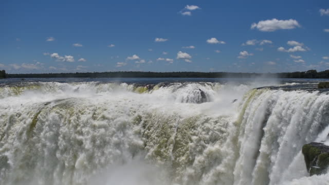 landscape view of the devil's throat at iguazú falls - devil's throat stock videos and b-roll footage