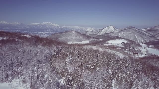 aerial landscape with forest and mountains in winter, shiga highlands, joshin etsu-kogen national park, nagano prefecture, japan - joshinetsu kogen national park stock videos and b-roll footage