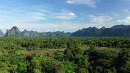 A landscape with forests and mountains in Laos, in summer, by drone on a beautiful sunny day.