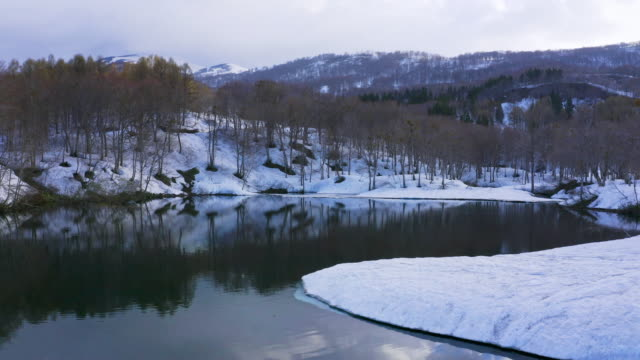 ws aerial landscape with lake in winter, mount gassan, yamagata prefecture, japan - naturwunder stock-videos und b-roll-filmmaterial