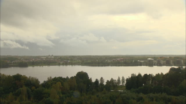 ws ha landscape with lake on rainy day / vaxjo, sweden - vaxjo stock videos & royalty-free footage