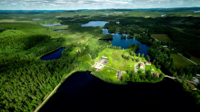 AERIAL: Landscape with lakes in sweden