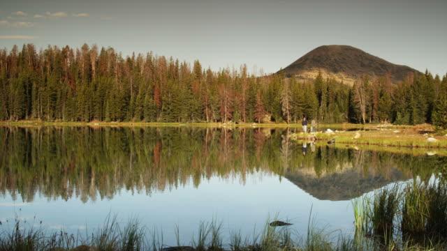 WS Landscape with mountain reflection in lake, Uinta Mountains, Utah, USA