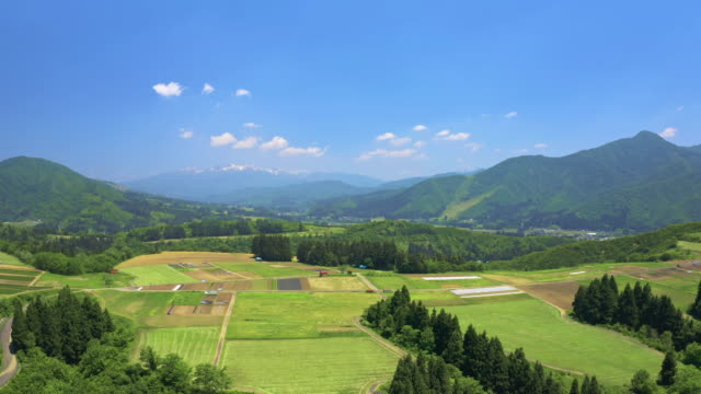 ws aerial landscape with mountains and fields, niigata prefecture, japan - 場所点の映像素材/bロール