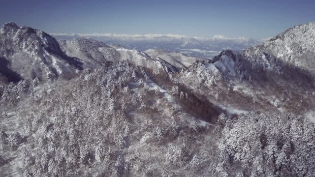 aerial landscape with mountains in winter, shiga highlands, joshin etsu-kogen national park, nagano prefecture, japan - joshinetsu kogen national park stock videos and b-roll footage