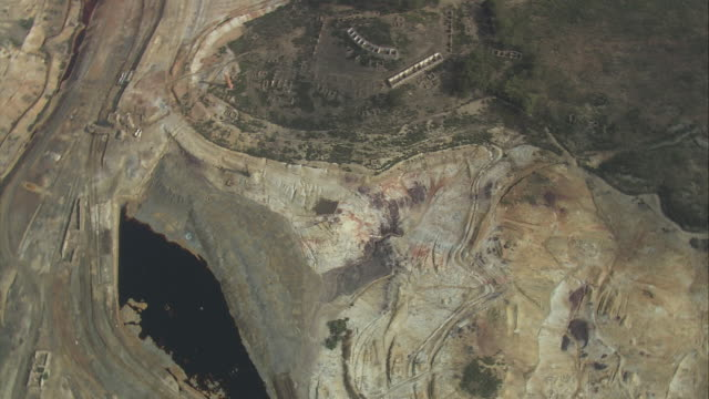 AERIAL WS Landscape with old mine / Beja, Portugal