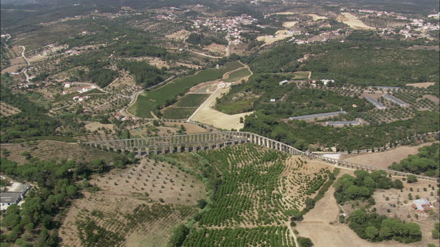 aerial ws landscape with pegoes aqueduct / tomar, santarem, portugal - aqueduct stock videos and b-roll footage