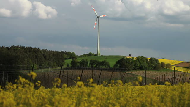 landscape with rape field and wind turbine - stimmungsvoller himmel stock videos & royalty-free footage