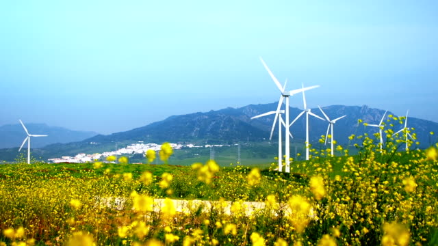 landscape with wind turbines - generator stock videos & royalty-free footage
