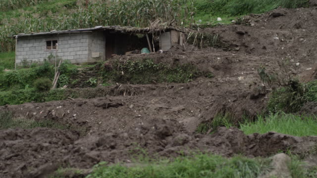 nepal - august 3, 2015: landslide, small ruined house - mud stock videos & royalty-free footage