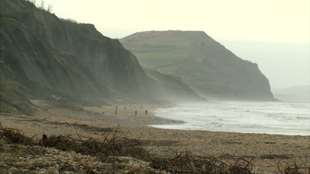 vidéos et rushes de landslide warning has been issued for the south west of england as more heavy rain has increased fears of unstable cliff faces. the british... - érodé