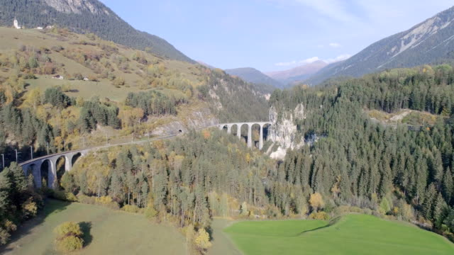 Landwasser viaduct tunnel on bernina pass glacier express in Switzerland