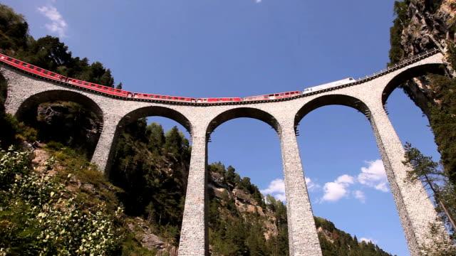 landwasser viaduct (landwasserviadukt) - viaduct stock videos & royalty-free footage