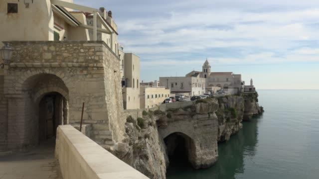 lane via ripe along vieste town over the adriatic sea - adriatic sea stock videos & royalty-free footage