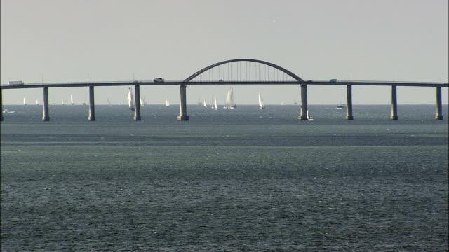 langeland bridge  - aerial view - south denmark, denmark - musical instrument bridge stock videos & royalty-free footage