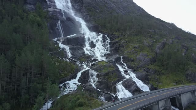 Langfossen waterfall in Norway aerial shot