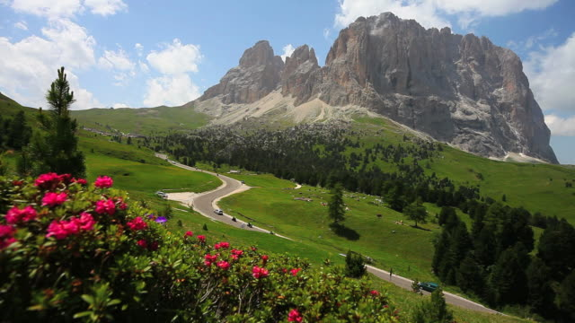 HD Langkofel mountain in the Dolomites tracking shot