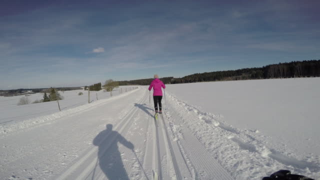 langlauf5 - telemark stock videos and b-roll footage