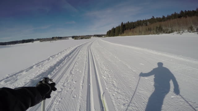 langlauf6 - telemark stock videos and b-roll footage