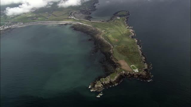 langness headland  - aerial view -, isle of man - isle of man stock videos & royalty-free footage
