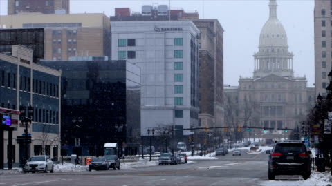 lansing, mi in the winter - state capitol building stock videos & royalty-free footage