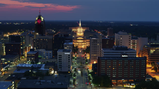 lansing, michigan at twilight - drone shot - lansing stock videos & royalty-free footage