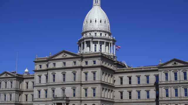 lansing, michigan, state capital building - michigan stock videos & royalty-free footage